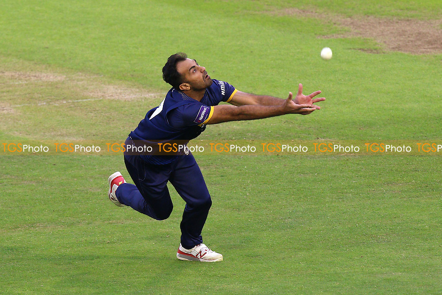 Wahab Riaz of Essex puts down a chance to catch Chris Cooke from his own bowling during Glamorgan vs Essex Eagles, Nat West T20 Blast Cricket at the SSE SWALEC Stadium on 1st June 2016
