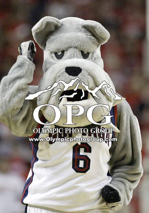 "29 December 2007:  Gonzaga Bulldogs mascot Spike pumps the crowd up against Tennessee at Key Arena in the annual ""Battle of Seattle"" in Seattle, WA. Tennessee won 82-72 over the Gonzaga Bulldogs."