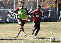 WASHINGTON, DC - NOVEMBER 14, 2012: Emilliano Dudar (19) and Long Tan (27) of DC United during a practice session before the second leg of the Eastern Conference Championship at DC United practice field, in Washington, DC on November 14.