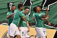PALMIRA - COLOMBIA, 08-02-2020: Agustin Palavecino del Cali celebra después de anotar el primer gol de su equipo durante partido entre Deportivo Cali y América de Cali por la fecha 4 de la Liga BetPlay DIMAYOR I 2020 jugado en el estadio Deportivo Cali de la ciudad de Palmira. / Agustin Palavecino of Cali celebrates after scoring the first goal of his team during match between Deportivo Cali and America de Cali for the date 4 as part of BetPlay DIMAYOR League I 2020 played at Deportivo Cali stadium in Palmira city. Photo: VizzorImage / Gabriel Aponte / Staff