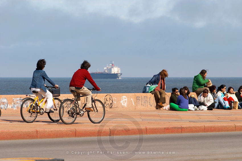 A group of young school children teenagers youth sitting on the pavement talking and drinking mate herbal tea, a couple riding on bicycles, in the background a big freight ship on the river, along the river riverside coast walk Rio de la Plata Ramblas Sur, Gran Bretagna and Republica Argentina Montevideo, Uruguay, South America