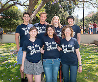 Biology professor Roberta Pollock's students participants in this year's annual summer research program, organized by Oxy's Undergraduate Research Center. They made custom t-shirts for their group! (Photo by Marc Campos, Occidental College Photographer)
