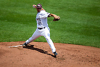Cody Schumacher (21) of the Missouri State Bears delivers a pitch during a game against the Evansville Purple Aces at Hammons Field on May 12, 2012 in Springfield, Missouri. (David Welker/Four Seam Images)