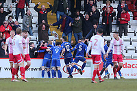 Crewe players and fans celebrate a late equalising goal by Charlie Kirk during Stevenage vs Crewe Alexandra, Sky Bet EFL League 2 Football at the Lamex Stadium on 10th March 2018