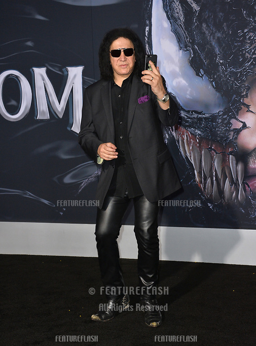 LOS ANGELES, CA. October 01, 2018: Gene Simmons at the world premiere for &quot;Venom&quot; at the Regency Village Theatre.<br /> Picture: Paul Smith/Featureflash
