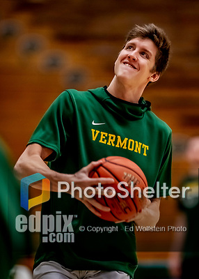 8 January 2020: University of Vermont Catamount Forward Bailey Patella, a Junior from Lenox, MA, warms up prior to a game against the Stony Brook University Seawolves at Patrick Gymnasium in Burlington, Vermont. The Seawolves defeated the Catamounts 81-77 in a closely fought game. Mandatory Credit: Ed Wolfstein Photo *** RAW (NEF) Image File Available ***