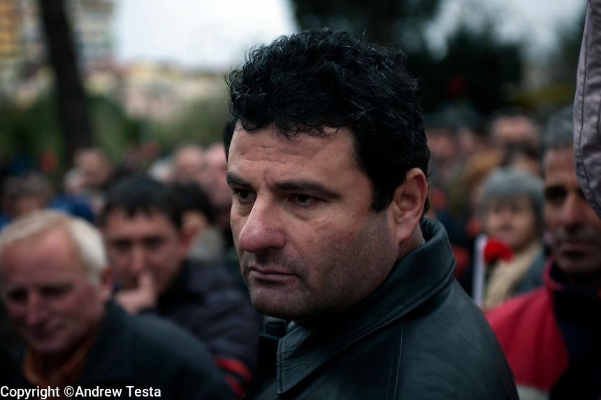 Albania. Tirana. 28th January 2011..Tens of thousands attended a silent demonstration in honour of three demonstrators shot dead during anti Government protests..©Andrew Testa for the New York Times..