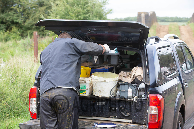 19.6.2020 A vet getting drugs from the back of his pickup truck<br /> ©Tim Scrivener Photographer 07850 303986<br />      ....Covering Agriculture In The UK.