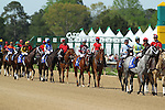 April 11, 2015: Post parade before the running of the Oaklawn Hanicap at Oaklawn Park in Hot Springs, AR. Justin Manning/ESW/CSM