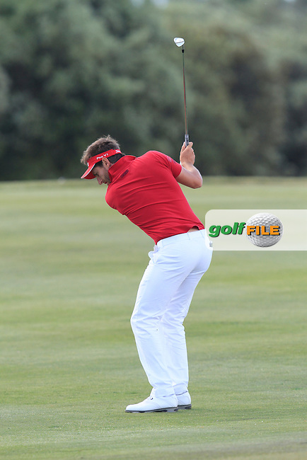 Edouard Espana (FRA) on the 16th fairway during Round 2 of the Open de Espana  in Club de Golf el Prat, Barcelona on Friday 15th May 2015.<br /> Picture:  Thos Caffrey / www.golffile.ie