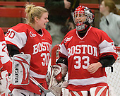 Alissa Fromkin (BU - 30), Melissa Haber (BU - 33) - The Northeastern University Huskies defeated the Boston University Terriers in a shootout after being tied at 4 following overtime in their Beanpot semi-final game on Tuesday, February 2, 2010 at the Bright Hockey Center in Cambridge, Massachusetts.
