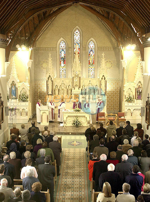 Most Rev. Dr. Sean Brady, Archbishop of Armagh assisted  by Very Rev. James Shevlin, P.P., Dunleer, Very Rev. James Clyne, P.P., Ardee, Very Rev. Canon John Mulgrew, P.E., A.P., Kilsaran, Very Rev. Canon John Mc Grane, P.E., A.P., Derrynoose and Very Rev. John Murphy, P.E., A.P., Dunleer at the Re-Dedication of St. Brigid's Church, Dunleer...Picture Fran Caffrey Newsfile.