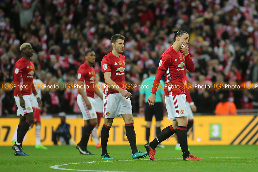 Zlatan Ibrahimovic of Manchester United walks back to the halfway line after Southampton's second goal during Manchester United vs Southampton, EFL Cup Final Football at Wembley Stadium on 26th February 2017
