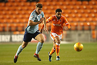 Blackpool's Liam Feeney and Accrington Stanley's Matthew Platt<br /> <br /> Photographer Rachel Holborn/CameraSport<br /> <br /> The EFL Checkatrade Trophy Group C - Blackpool v Accrington Stanley - Tuesday 13th November 2018 - Bloomfield Road - Blackpool<br />  <br /> World Copyright © 2018 CameraSport. All rights reserved. 43 Linden Ave. Countesthorpe. Leicester. England. LE8 5PG - Tel: +44 (0) 116 277 4147 - admin@camerasport.com - www.camerasport.com