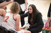 Anahit Aladzhanyan, head women's basketball coach. The Occidental College women's basketball team take on Chapman University in Rush Gym, Jan. 12, 2016.<br /> (Photo by Marc Campos, Occidental College Photographer)
