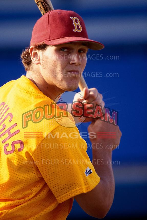 Sean Burroughs of Long Beach Wilson H.S. participates in a baseball game at Blair Field during the 1998 season in Long Beach, California. (Larry Goren/Four Seam Images)