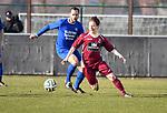 2018-02-18 / Voetbal / Seizoen 2017-2018 / Wuustwezel - Olmen / Glenn Mellebeek (l. Olmen) met Maxim Bevers<br /> <br /> ,Foto: Mpics.be