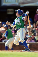 Lexington Legends first baseman Frank Schwindel (13) at bat during a game against the Hagerstown Suns on May 19, 2014 at Whitaker Bank Ballpark in Lexington, Kentucky.  Lexington defeated Hagerstown 10-8.  (Mike Janes/Four Seam Images)