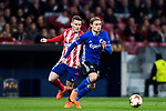Peter Ankersen (R) of FC Copenhague runs past Kevin Gameiro of Atletico de Madrid during the UEFA Europa League 2017-18 Round of 32 (2nd leg) match between Atletico de Madrid and FC Copenhague at Wanda Metropolitano  on February 22 2018 in Madrid, Spain. Photo by Diego Souto / Power Sport Images