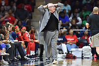 Washington, DC - Aug 8, 2019: Washington Mystics head coach Mike Thibault is not happy with a foul called during 2nd half action of game between the Indiana Fever and the Washington Mystics. The Mystics defeat the Fever 91-78 at the Entertainment & Sports Arena in Washington, DC. (Photo by Phil Peters/Media Images International)