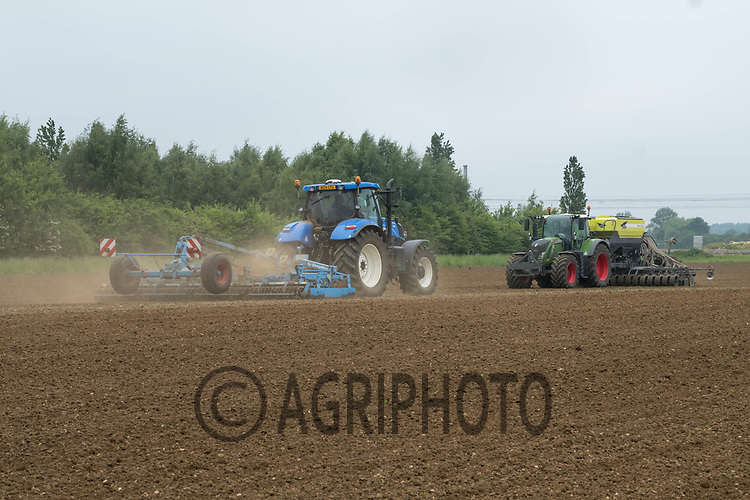 Contractors working land down and drilling grass seed<br /> &copy;Tim Scrivener Photographer 07850 303986<br /> ....Covering Agriculture In The UK....