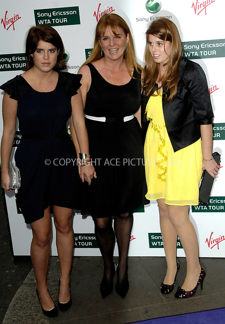 WWW.ACEPIXS.COM . . . . .  ..... . . . . US SALES ONLY . . . . .....June 18 2009, London....Sarah Ferguson with her daughters Princess Eugenie and Princess Beatrice at the Ralph Lauren Sony Ericsson WTA Tour Pre-Wimbledon Party at The Roof Gardens on June 18 2009 in London......Please byline: FAMOUS-ACE PICTURES... . . . .  ....Ace Pictures, Inc:  ..tel: (212) 243 8787 or (646) 769 0430..e-mail: info@acepixs.com..web: http://www.acepixs.com