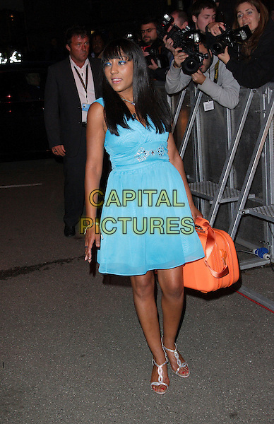 "NICKY MAXWELL.""Big Brother 8"" arrivals at the house, Borehamwood, Hertfordshire, England. .May 30th, 2007 .Herts BB8 full length blue turquoise dress orange suitcase luggage silver shoes.CAP/ROS.©Steve Ross/Capital Pictures"