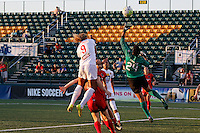 Rochester, NY - Friday June 17, 2016: Western New York Flash forward Lynn Williams (9), Portland Thorns FC goalkeeper Adrianna Franch (24) during a regular season National Women's Soccer League (NWSL) match between the Western New York Flash and the Portland Thorns FC at Rochester Rhinos Stadium.