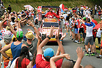The publicity caravan pass by ahead of the race during Stage 10 of the 2018 Tour de France running 158.5km from Annecy to Le Grand-Bornand, France. 17th July 2018. <br /> Picture: ASO/Bruno Bade | Cyclefile<br /> All photos usage must carry mandatory copyright credit (&copy; Cyclefile | ASO/Bruno Bade)
