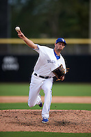 Dunedin Blue Jays pitcher Brady Dragmire (17) delivers a pitch during the first game of a doubleheader against the Palm Beach Cardinals on July 31, 2015 at Florida Auto Exchange Stadium in Dunedin, Florida.  Dunedin defeated Palm Beach 7-0.  (Mike Janes/Four Seam Images)