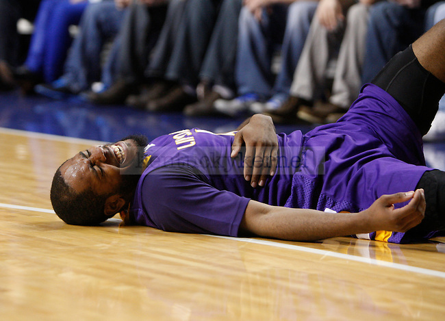 Lipscomb guard Deonte Alexander after falling during the first half of the UK men's basketball vs. Lipscomb University at Rupp Arena in Lexington, Ky., on Saturday, December 15, 2012. Photo by Tessa Lighty | Staff