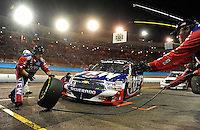 Nov. 13, 2009; Avondale, AZ, USA; NASCAR Camping World Truck Series driver Ron Hornaday pits during the Lucas Oil 150 at Phoenix International Raceway. Mandatory Credit: Mark J. Rebilas-