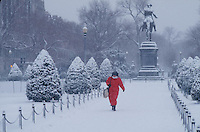 Public Garden, winter, snow, Washington statue, Boston, MA