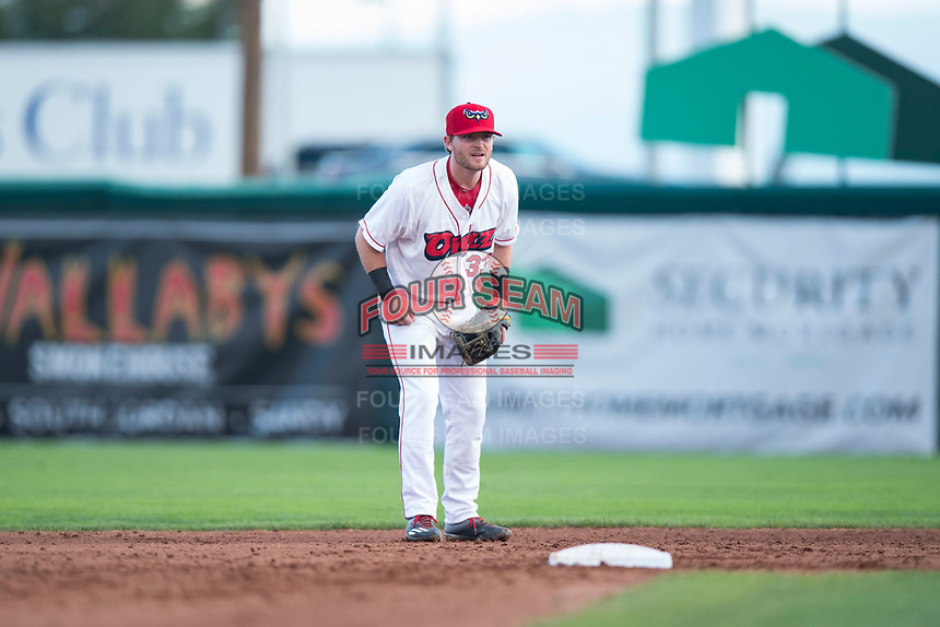 Orem Owlz second baseman Justin Jones (33) during a Pioneer League game against the Ogden Raptors at Home of the OWLZ on August 24, 2018 in Orem, Utah. The Ogden Raptors defeated the Orem Owlz by a score of 13-5. (Zachary Lucy/Four Seam Images)