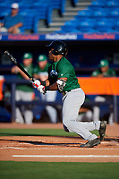 Daytona Tortugas left fielder Malik Collymore (4) hits a single during a game against the St. Lucie Mets on August 3, 2018 at First Data Field in Port St. Lucie, Florida.  Daytona defeated St. Lucie 3-2.  (Mike Janes/Four Seam Images)
