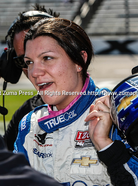 Katherine Legge (6) driver of the TrueCar Dragon Racing car in action during qualifying for the IZOD Indycar Firestone 550 race at Texas Motor Speedway in Fort Worth,Texas. IZOD Indycar driver Alex Tagliani (98) driver of the Team Barracuda-BHA car qualifies in the top spot during the Firestone 550 race...