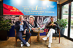 Tennis Legend Boris Becker (left) and Mission Hills vice-chairman Tenniel Chu give a press conference at Mission Hills Resort on 19 March 2016, in Shenzhen, China. Photo by Lucas Schifres / Power Sport Images