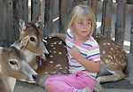 Small girl sits down with deer at San Diego's Wild Animal Park petting zoo