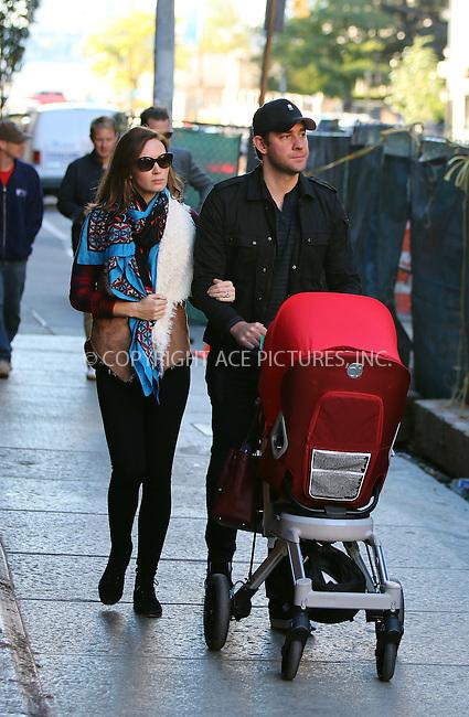 ACEPIXS.COM<br /> <br /> October 19 2014, New York City<br /> <br /> Actors Emily Blunt and John Krasinski take their daughter Hazel Krasinski for a walk in Tribeca on October 19 2014 in New York City<br /> <br /> By Line: Zelig Shaul/ACE Pictures<br /> <br /> ACE Pictures, Inc.<br /> www.acepixs.com<br /> Email: info@acepixs.com<br /> Tel: 646 769 0430
