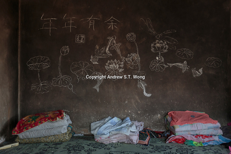 The bed of a local farmer who are practising eco-agriculture in Alxa Left Banner, Inner Mongolia, China, October 2017.