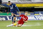 12.02.2020 Kilmarnock v Rangers: Scott Arfield tackles Nicke Kabamba