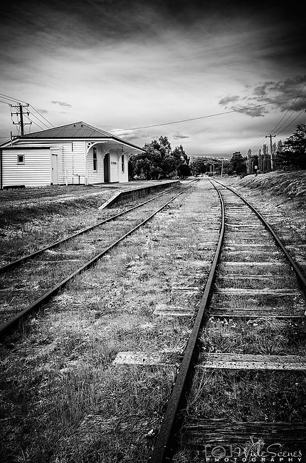 The abandoned station and railway tracks in Westerway in Tasmania, Australia. Westerway is a small town  68 kilometres (42 mi) west of Hobart on the Tyenna River. The track was part of the Derwent Valley Railway line which reached the town in 1909. Westerway railway station was important as it was the starting point for the pack horse journey to the long abandoned Adamsfield osmiridium mine.