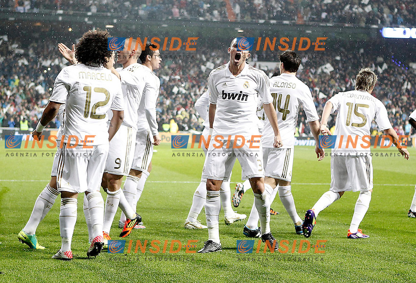 Real Madrid's Marcelo. Pepe and Karim Benzema celebrate with other players during La Liga Match. December 10, 2011. (Insidefoto/Alvaro Hernandez) .Barcellona Real Madrid .ITALY ONLY
