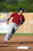 Mahoning Valley Scrappers shortstop Alexis Pantoja (12) running the bases during a game against the Auburn Doubledays on July 17, 2016 at Falcon Park in Auburn, New York.  Mahoning Valley defeated Auburn 3-2.  (Mike Janes/Four Seam Images)