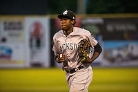 Gabby Guerrero (27) of the Jackson Generals looks on during a game between the Jackson Generals and Chattanooga Lookouts at AT&T Field on May 7, 2015 in Chattanooga, Tennessee. (Brace Hemmelgarn/Four Seam Images)