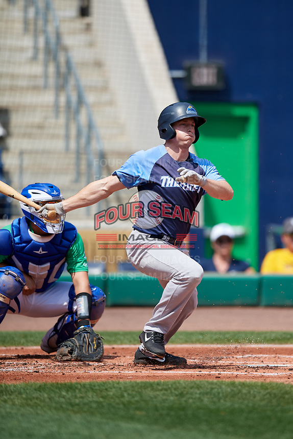 Trenton Thunder center fielder Jeff Hendrix (17) hits a single during a game against the Hartford Yard Goats on August 26, 2018 at Dunkin' Donuts Park in Hartford, Connecticut.  Trenton defeated Hartford 8-3.  (Mike Janes/Four Seam Images)