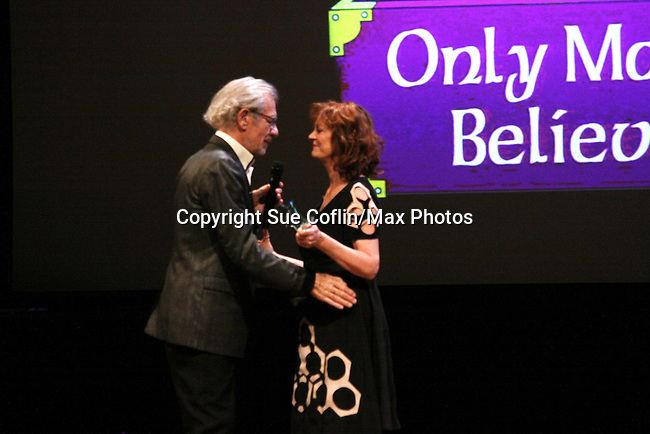 Host Sir Ian McKellen honors Susan Sarandon with the Sir Ian McKellen Award at Only Make Believe on Broadway - 14th Annual Gala - on November 4, 2013 hosted by Sir Ian McKellen honoring Susan Sarandon in New York City, New York.  (Photo by Sue Coflin/Max Photos)