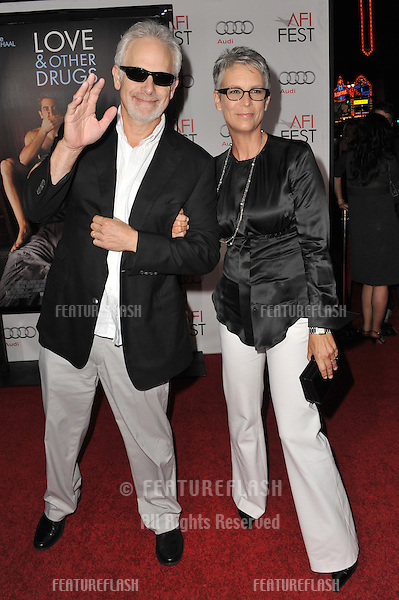 "Jamie Lee Curtis & husband Christopher Guest at the world premiere of ""Love & Other Drugs"" as the opening night gala of the AFI Fest 2010 at Grauman's Chinese Theatre, Hollywood..November 4, 2010  Los Angeles, CA.Picture: Paul Smith / Featureflash"