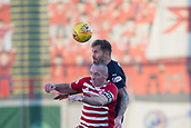 2nd February 2019, Hope CBD Stadium, Hamilton, Scotland; Ladbrokes Premiership football, Hamilton Academical versus Dundee; Martin Woods of Dundee competes in the air with Darian MacKinnon of Hamilton Academical