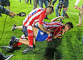 June 4th 2017, Estadi Montilivi,  Girona, Catalonia, Spain; Spanish Segunda División Football, Girona versus Zaragoza; Three Girona players celebrate their draw and are promoted to La Liga for 2017-18 season